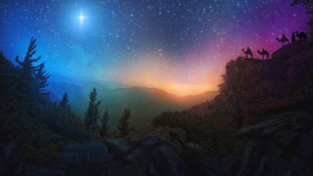 Four Wise Men on a Hill Overlooking Cosmic Valley